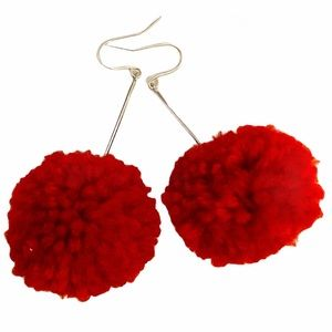 Large Red Pom Pom Dangle Earrings NEW